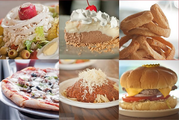 various foods from pizza palace, burgers, pizza, spaghetti and more
